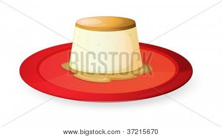 illustration of pudding in red dish on white