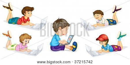 illustration of kids and laptops on a white background