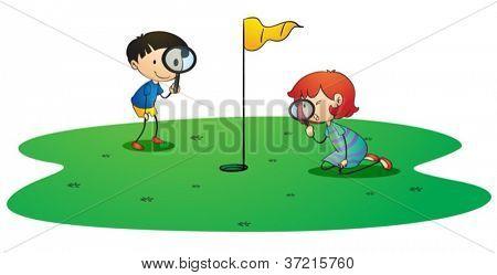 illustration of kids on golf ground on white background