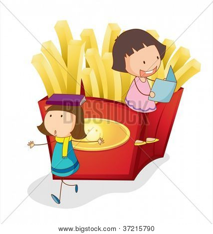 illustration of girls and french fries on a white background