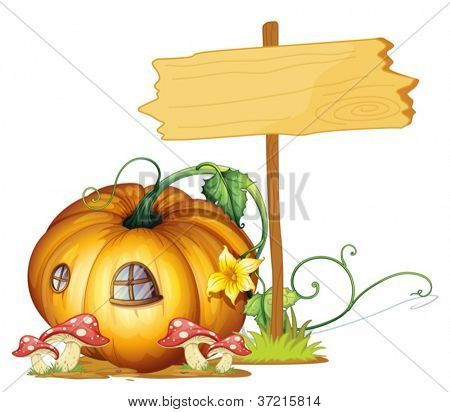 illustration of a board and pumpkin house on white