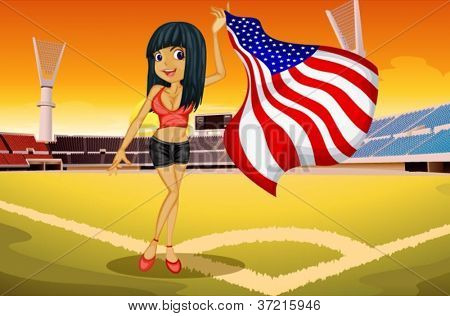 illustration of a girl in a stadium showing flag