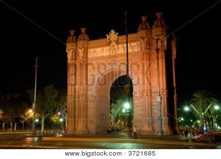 Arc De Triomf At Night, Barcelona, Spain