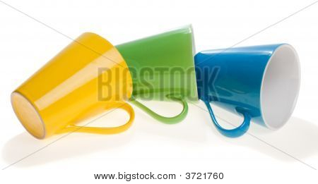 Three Multicolored Cups In Stack, Isolated, On White Background