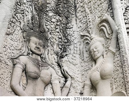Details Of Dancing Apsara At Angkor Wat