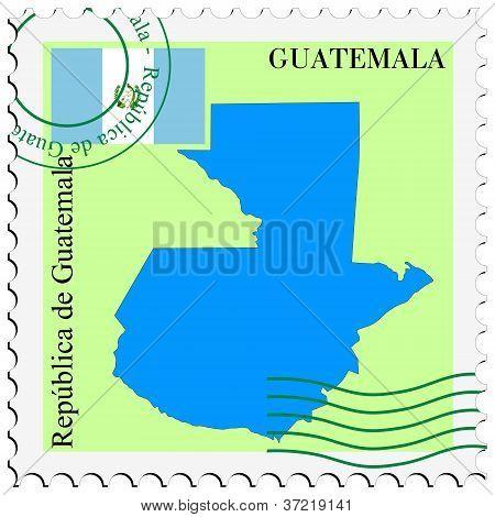 selo com o mapa e a bandeira da Guatemala