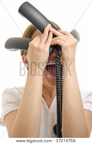 Gestresste Frau mit Telefon-Empfängern isoliert