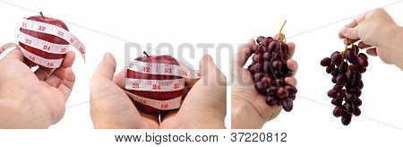 Collection Of Hands Holding Apples And Grapes