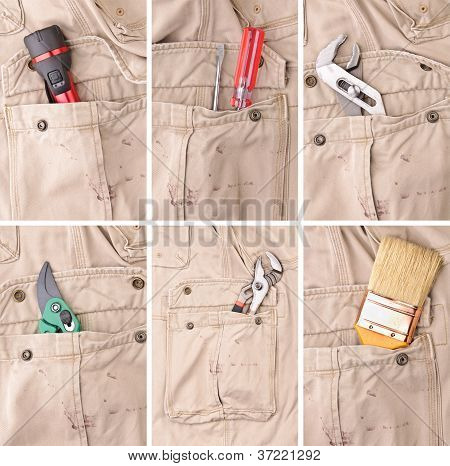 Collection Of Tools In Trousers's Pockets