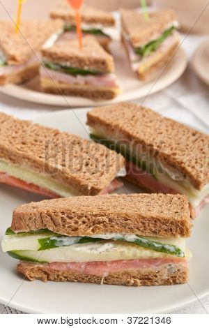 Tasty group of various sandwiches on healthy whole wheat bread