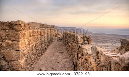Masada fortress and Dead sea