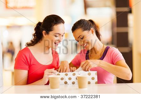 two women friends checking clothes inside shopping bag