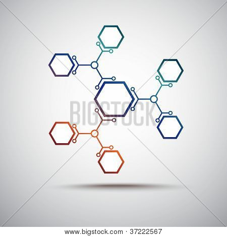 Connection Of Colored Hexagonal Cells