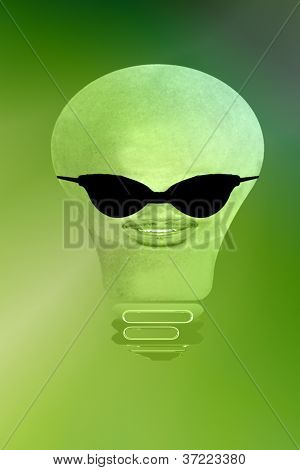 Light Bulb With Face And Sun Glassesgreenish Background