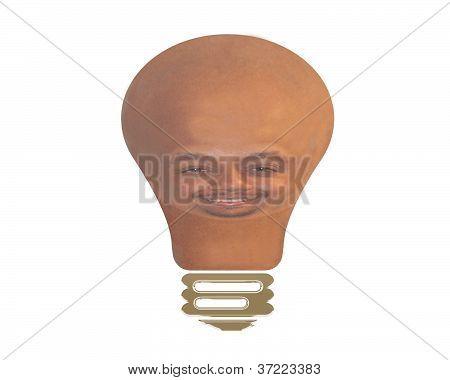 Light Bulb With Man's Face
