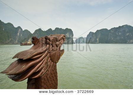 Dragon Head On Bow Of Junk On Halong Bay In Vietnam