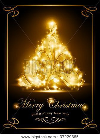 Warmly sparkling Christmas tree on dark brown background. Light effects give it a radiating glow. Perfect for the coming festive season.