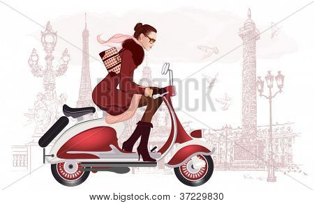 Vector illustration of a woman riding a scooter