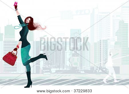 Vetor illustration of a young woman happy with her new smartphone