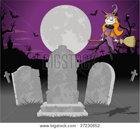 Halloween cemetery background with tombs and funny cartoon witch