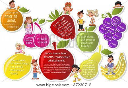 Modelo colorido para folheto de publicidade com frutas e crianças dos desenhos animados