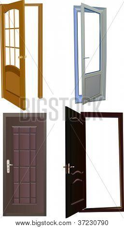 Ilustración con cuatro puertas aisladas sobre fondo blanco