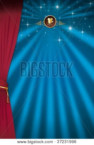 Cinema background. A design with sunbeams and a curtain for your advertising