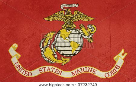 Grunge flag of the United States Marine Corps; isolated on white background.