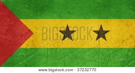 Grunge sovereign state flag of country of Sao Tome and Principe in official colors.