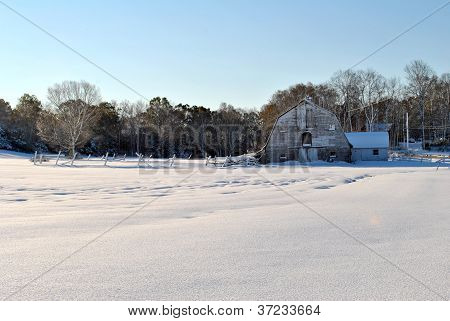Classic New England Barn in Winter 2