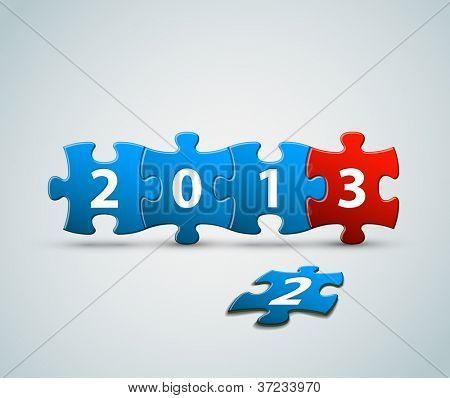 New Year 2013 card made from blue and red puzzle pieces vector illustration