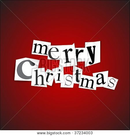 Merry Christmas - vector illustration made from anonymous newspaper letters
