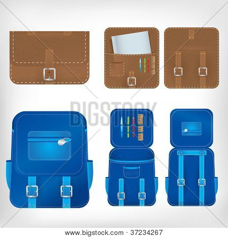 Vector illustration of school bags