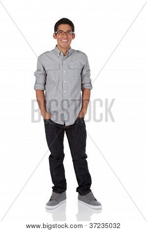 Collage age man with hands in pocket