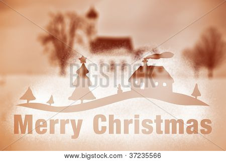 A nice winter scenery with snow spray Merry Christmas on the window