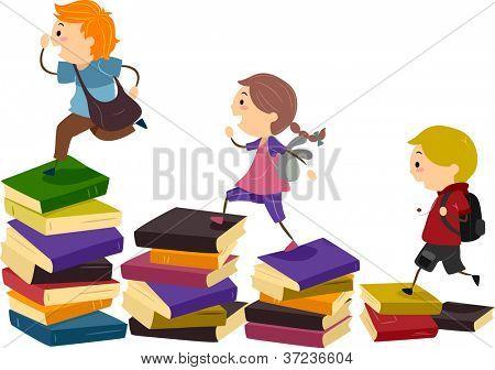 图学校的孩子们使用一堆堆的书作为步进的石头