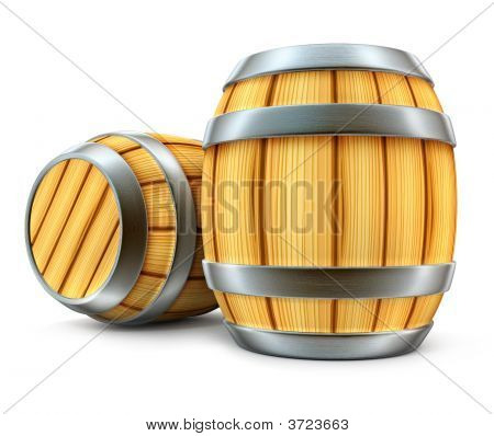 Wooden Barrel For Wine And Beer Storage Isolated