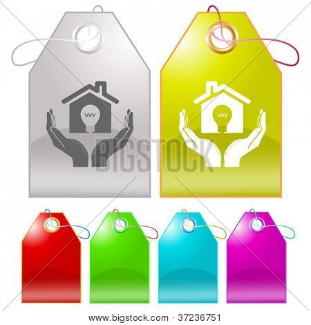 economy in hands. Raster tags. Vector version is in my portfolio.