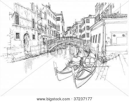 Ponte del Mondo Novo, Campo S.Maria Formosa. Venice, Italy. Bitmap copy my vector