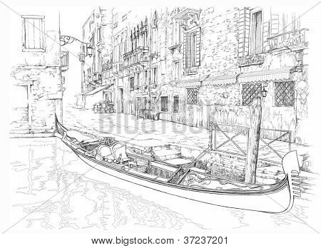 Venice - Calle Fondamenta Megio. Ancient building & gondola. Bitmap copy my vector
