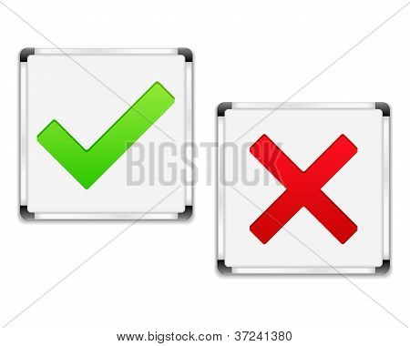 Whiteboards with check and cross symbols