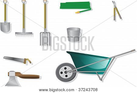 Garden Tools For Household Isolated