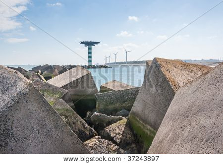 Closeup Of Large Concrete Blocks In The Dutch North Sea