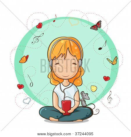 Girl listening to music from smartphone