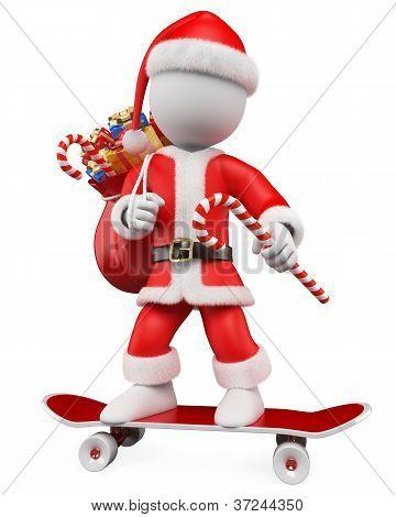 3D Christmas White People. Santa Claus Riding Skateboard