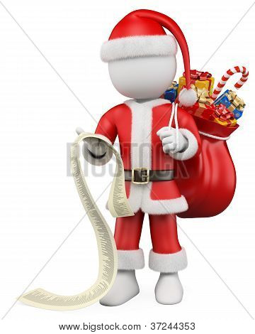 3D Christmas White People. Santa Claus Reading The List Of Gifts
