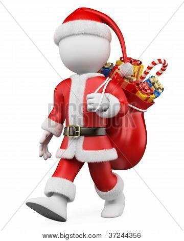 3D Christmas White People. Santa Claus Walking With A Sack Full Of Gifts