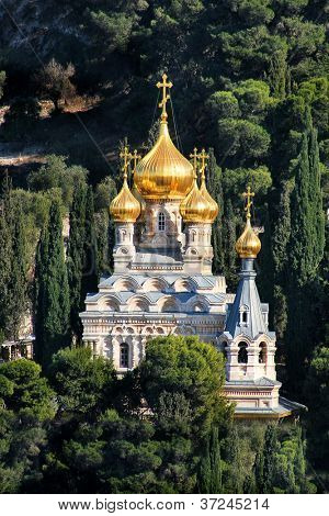 Vertical oriented image of Church of Mary Magdalene located on Mount pf Olives in Jerusalem, Israel.