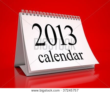 Calendar 2013 In Red Background
