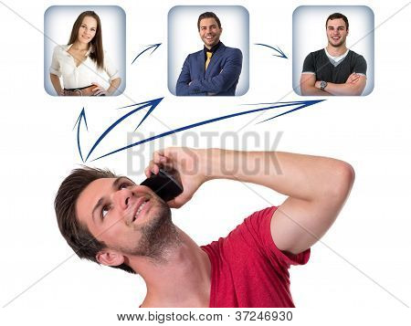 Young Man Networking On The Phone